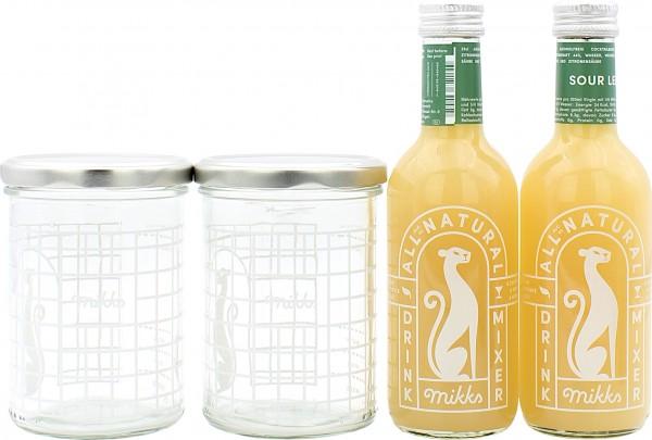 Mikks Sour Lemon Set mit 2 Sour Lemon 0,25l und 2 Mixgläser