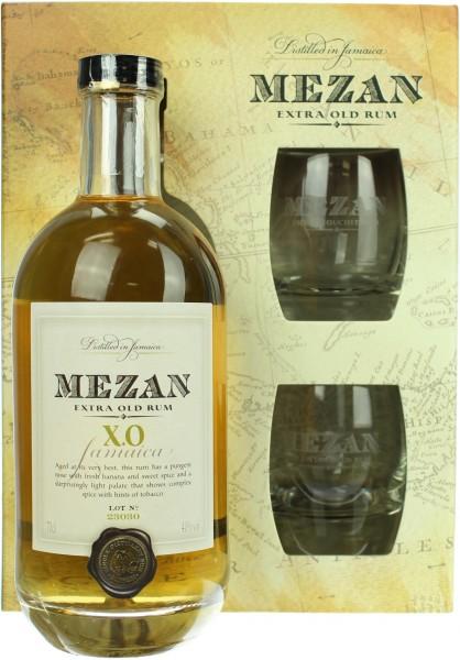 Mezan Jamaica Rum XO Barrique Geschenkset mit 2 Gläsern 40.0% 0,7l