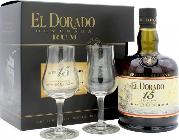 El Dorado Rum 15 Jahre Geschenkset mit 2 Gläsern