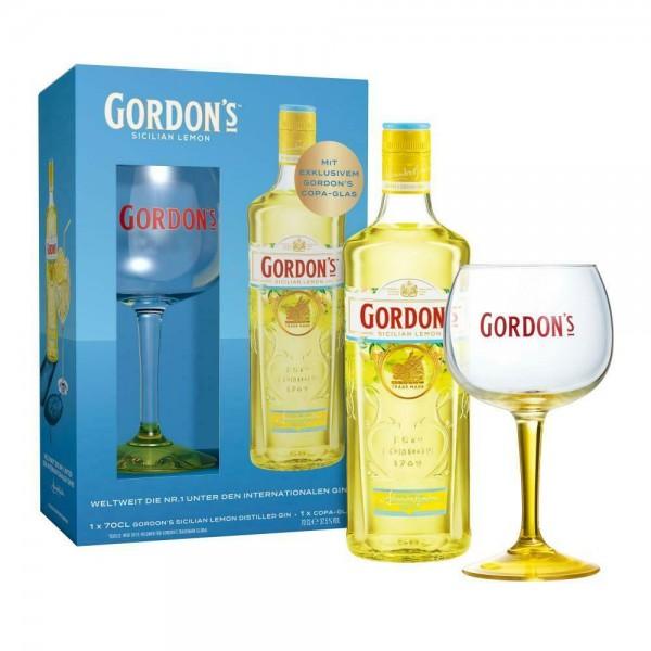 Gordon's Sicilian Lemon Gin Geschenkset mit Glas