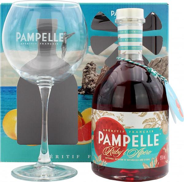 Pampelle Ruby l'Apéro Geschenkset mit einem Glas