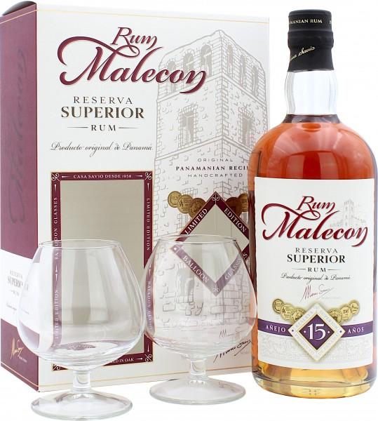 Malecon Reserva Superior Rum 15 Jahre Geschenkset mit 2 Gläsern