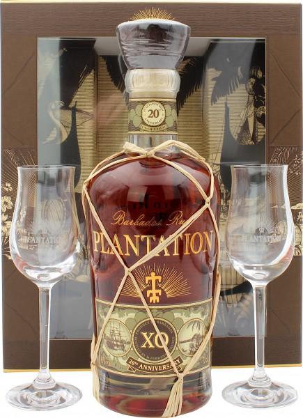 Plantation Barbados X.O. Rum 20th Anniversary Geschenkset mit 2 Gläsern