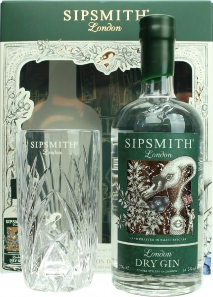 Sipsmith London Dry Gin Geschenkset mit Gin Tonic Glas
