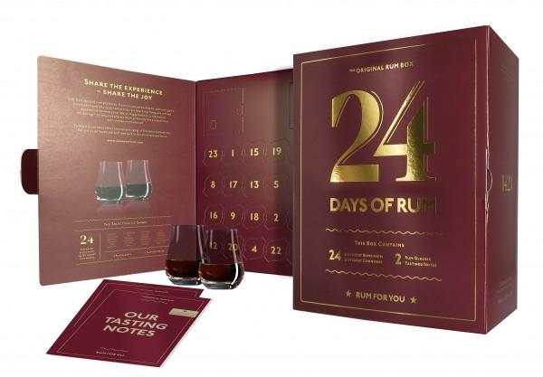 24 Days of Rum Kalender 2021 mit 2 Nosing Gläsern