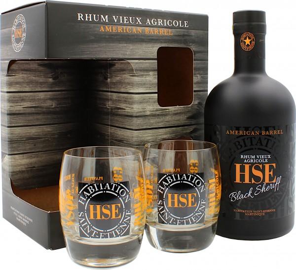 H.S.E. Rhum Vieux Agricole Black Sheriff Geschenkset mit 2 Gläsern