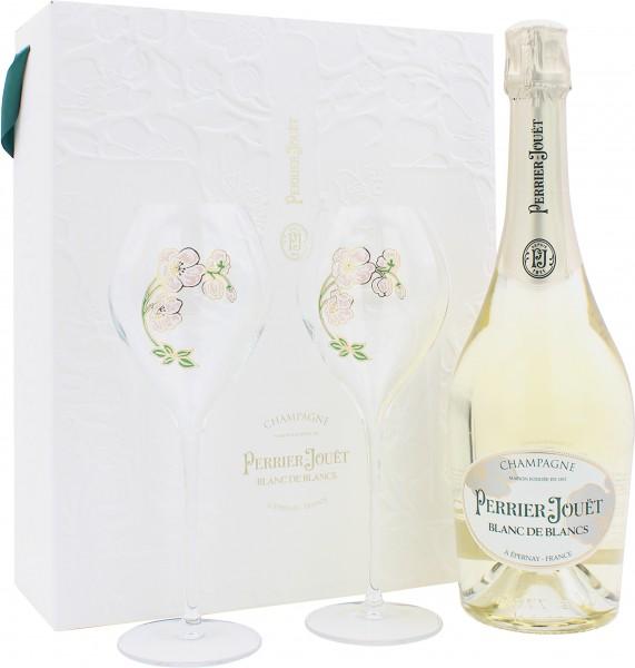 Perrier Jouët Blanc De Blancs Geschenkset mit 2 Gläsern