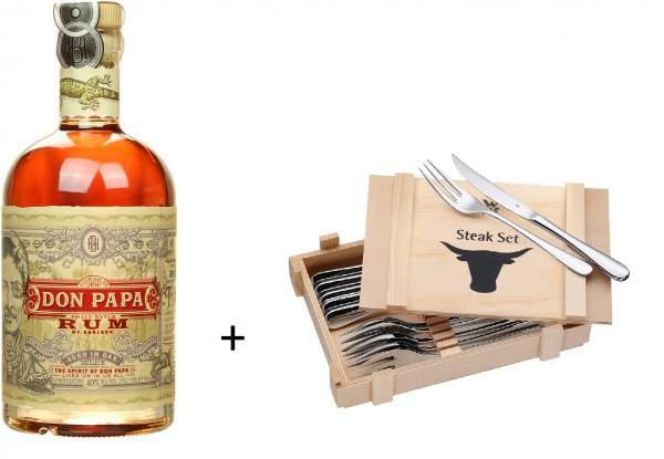 Don Papa Rum mit einem 12-teiligen WMF Steakbesteck Set