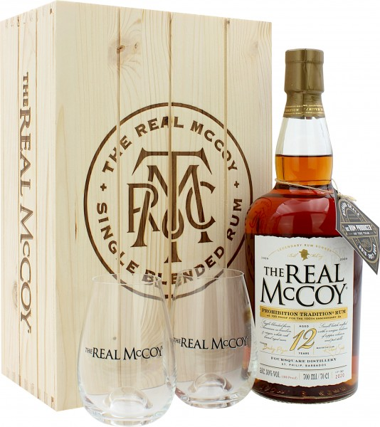 The Real McCoy Rum 12 Jahre Holzbox mit 2 Tumblern