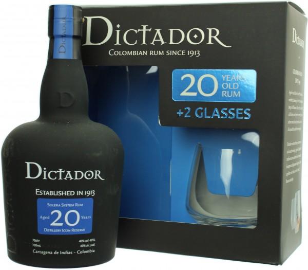 Dictador Rum Solera 20 Jahre mit 2 Gläsern 40.0% 0,7l