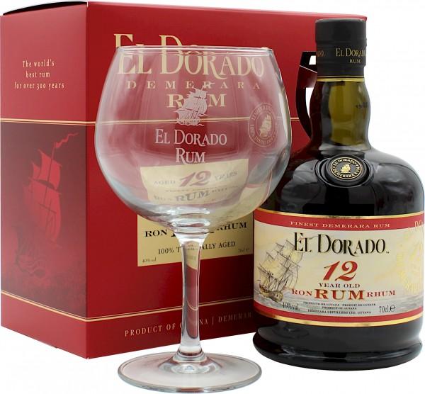 El Dorado Rum 12 Jahre Geschenkset mit Glas