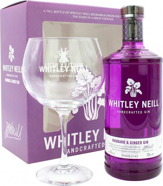 Whitley Neill Rhubarb & Ginger Gin Geschenkset mit Copa Glas